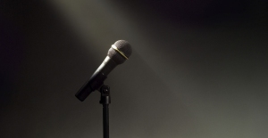 Microphone and stand in the spotlight